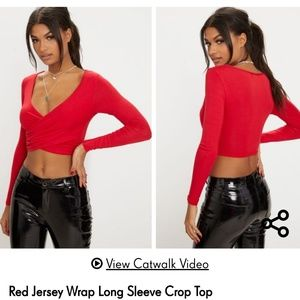 Red jersey wrap long sleeve crop top